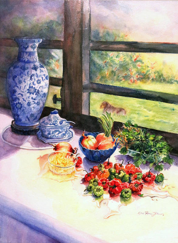 Still Life Poster featuring the painting Ready To Marinate by Estela Robles