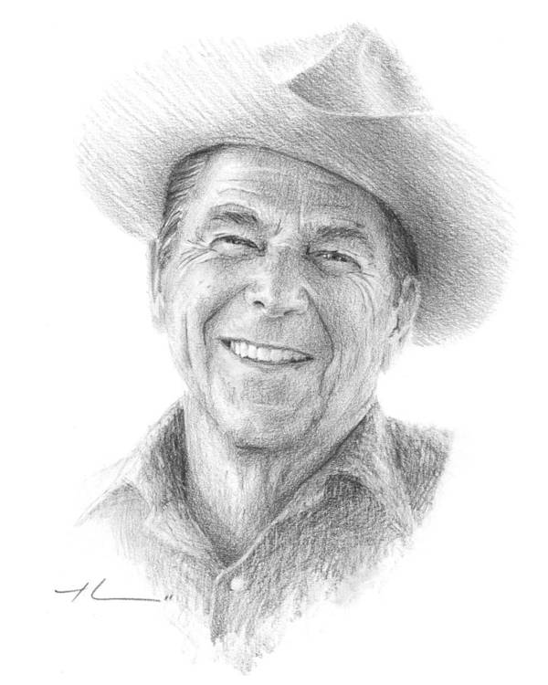 Www.miketheuer.com Poster featuring the drawing Reagan Drawing Mike Theuer by Mike Theuer