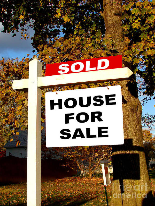 Real Estate Poster featuring the photograph Real Estate Sold And House For Sale Sign On Post by Olivier Le Queinec
