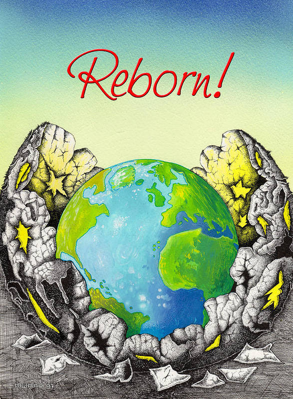 Born Poster featuring the drawing Reborn by Anthony Mwangi