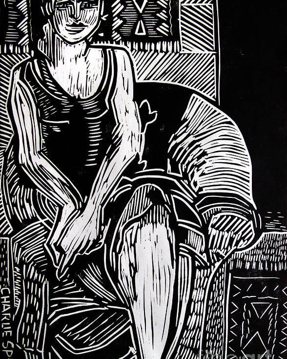 Lino-cut Poster featuring the relief Reclining by Charlie Spear