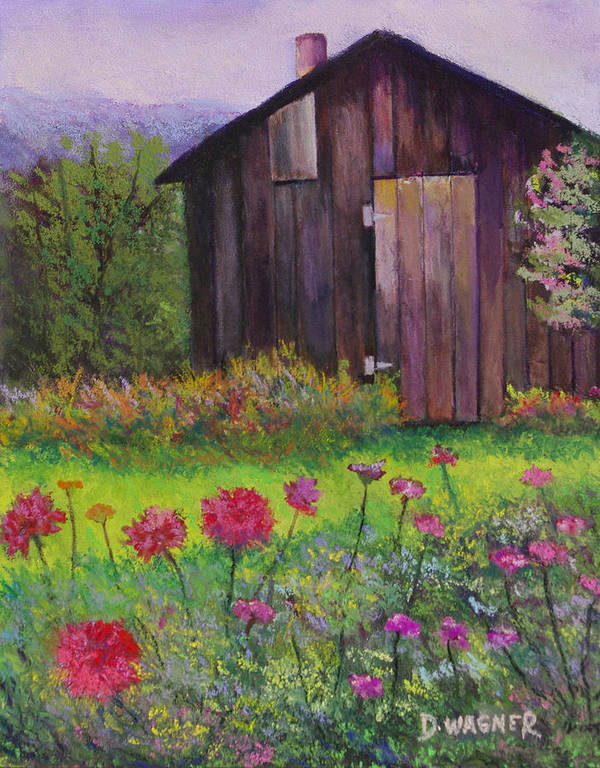 Pastel Poster featuring the painting Red And Pink Flowers by Denise Wagner