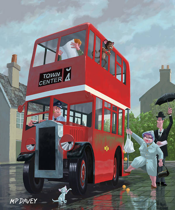 Red Bus Poster featuring the painting Red Bus Stop Queue by Martin Davey
