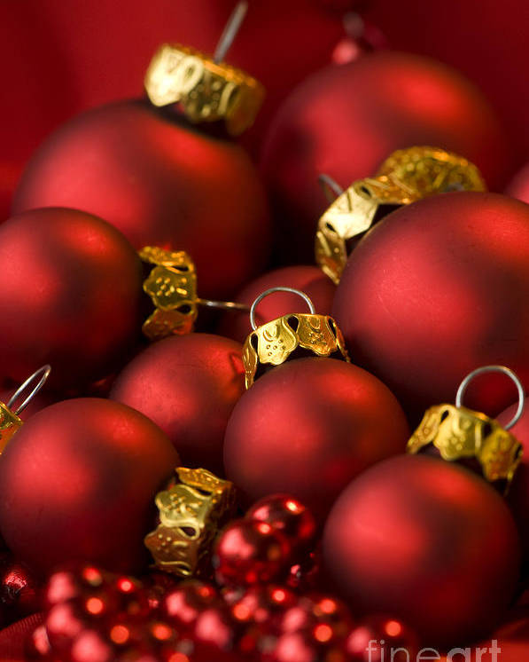 Baubles Poster featuring the photograph Red Christmas Baubles by Anne Gilbert