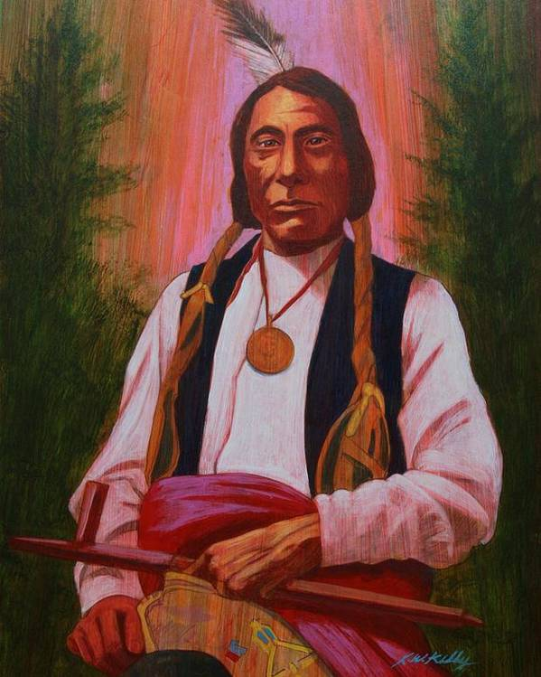Red Cloud Poster featuring the painting Red Cloud Oglala Lakota Chief by J W Kelly