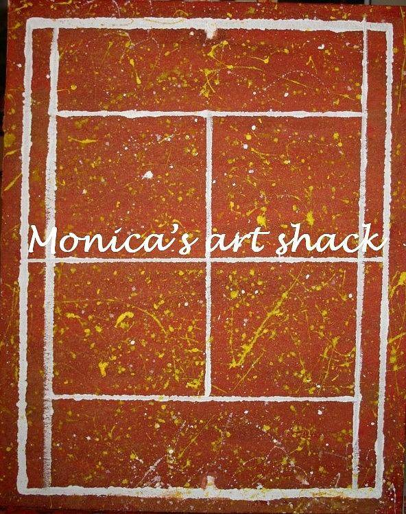Red Dirt Poster featuring the painting Red Dirt Of A Tennis Court by Monica Art-Shack