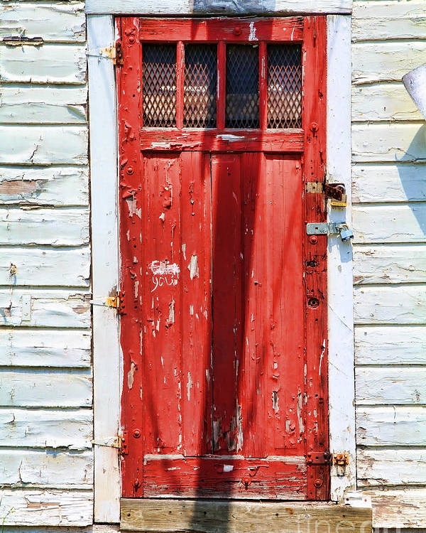 Renee's Abandoned Store Poster featuring the photograph Red Door By Diana Sainz by Diana Sainz
