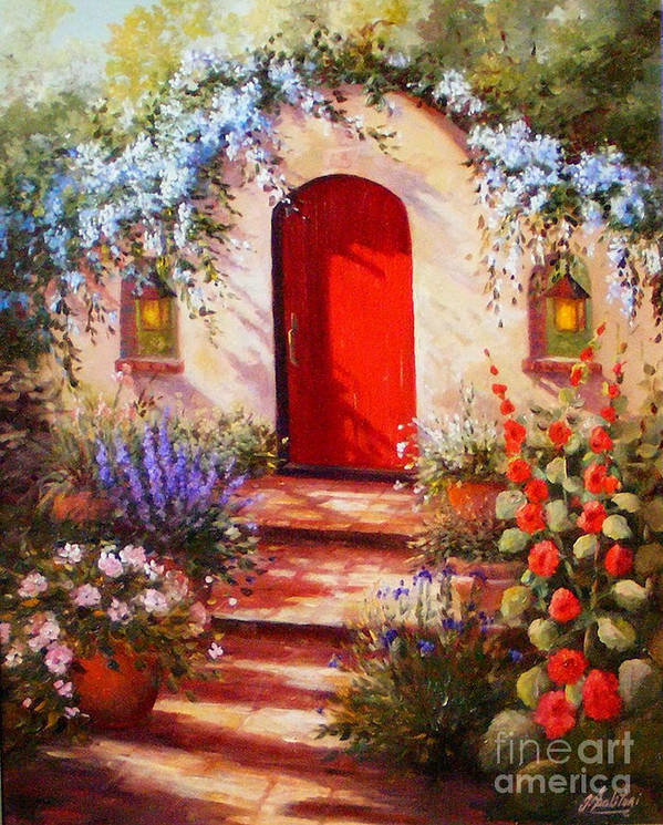 Red Door Poster featuring the painting Red Door by Gail Salitui