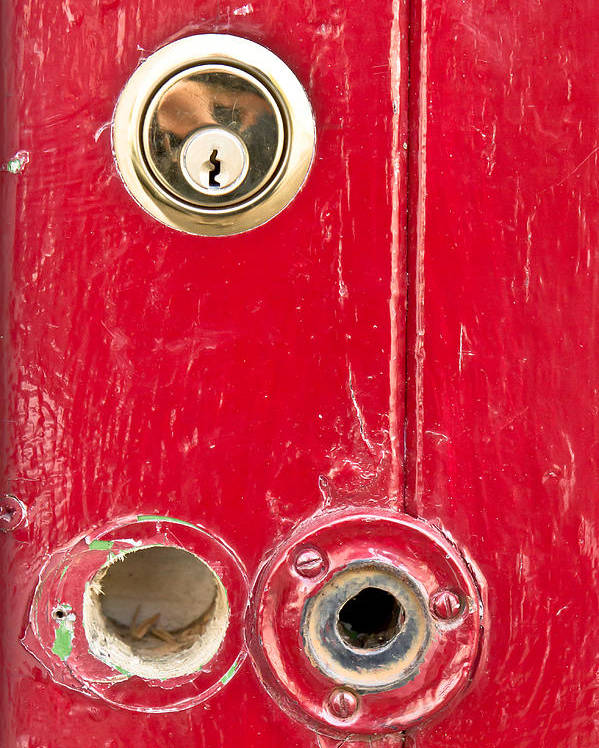 Anti-theft Poster featuring the photograph Red Door Lock by Tom Gowanlock