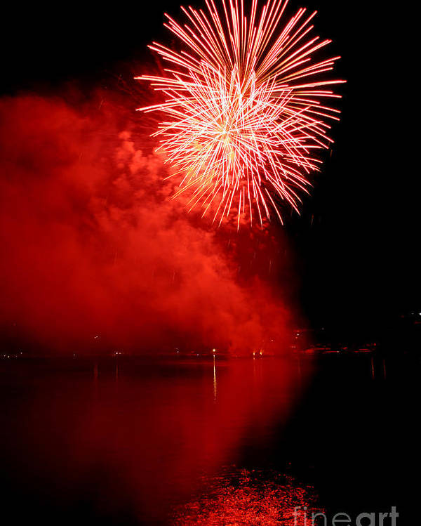 Firework Poster featuring the photograph Red Fire by Martin Capek