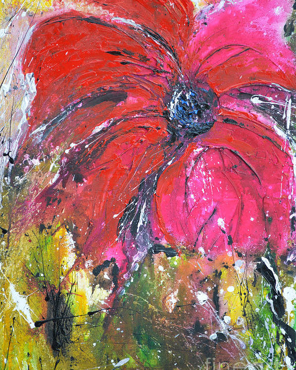 Lily Poster featuring the painting Red Flower - Abstract Painting by Ismeta Gruenwald