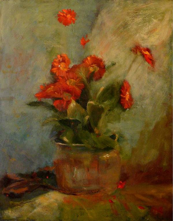 Red Poster featuring the painting sold Red Gerberas by Irena Jablonski