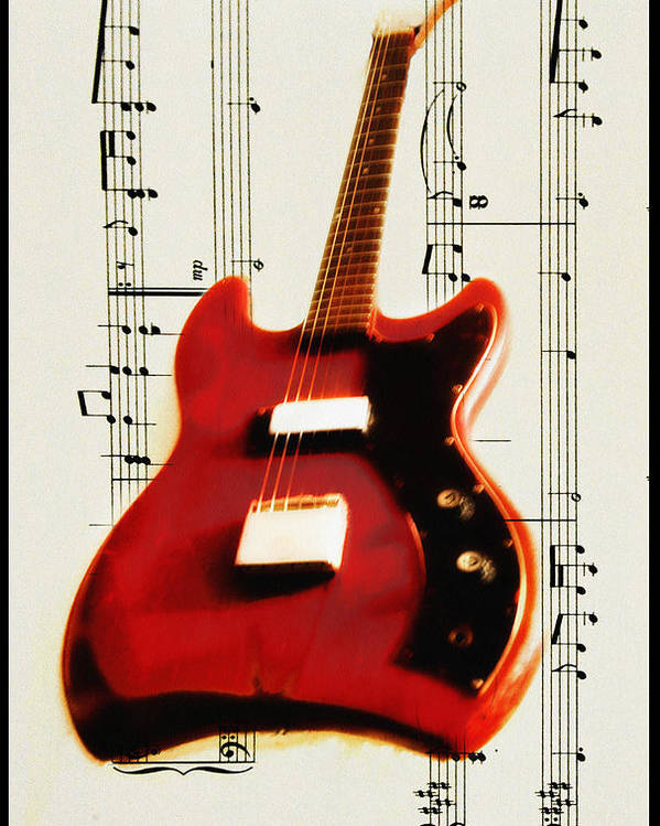 Red Poster featuring the photograph Red Guitar by Bill Cannon