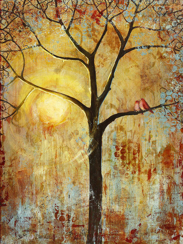 Love Birds Poster featuring the painting Red Love Birds in a Tree by Blenda Studio