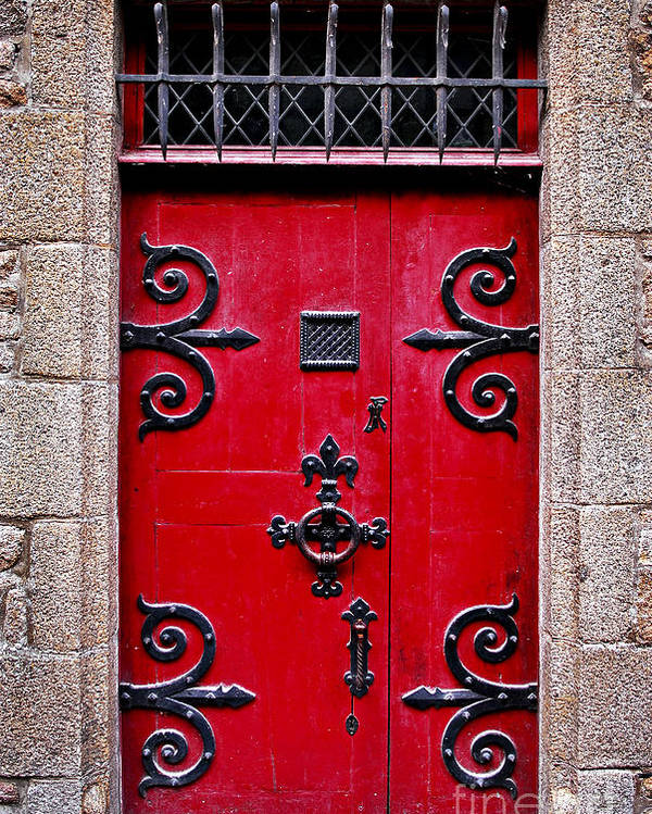 Mont Poster featuring the photograph Red Medieval Door by Elena Elisseeva