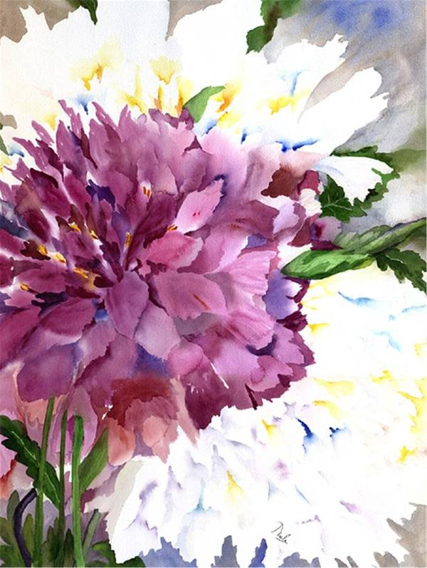 Peony Poster featuring the painting Red Peony by Neela Pushparaj