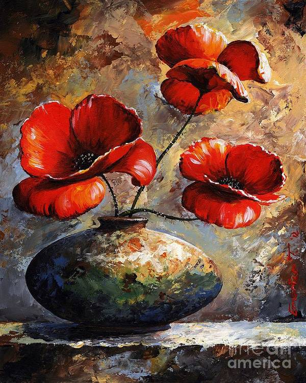 Art Poster featuring the painting Red Poppies 02 by Emerico Imre Toth