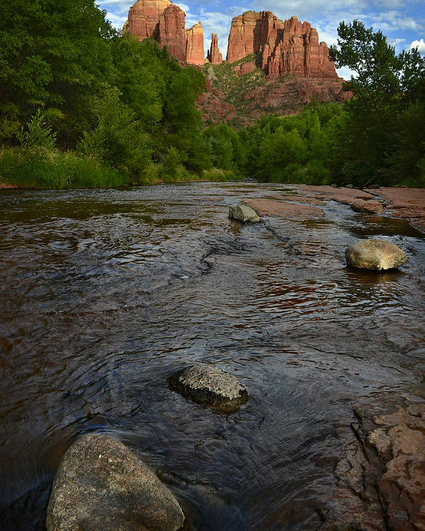 Cathedral Poster featuring the photograph Red River Crossing Under Cathedral Rock by Dave Dilli