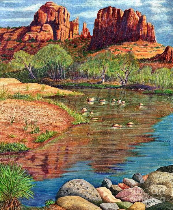 Red Rocks Poster featuring the drawing Red Rock Crossing-sedona by Marilyn Smith