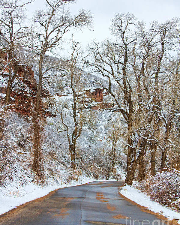 Winter Poster featuring the photograph Red Rock Winter Road Portrait by James BO Insogna