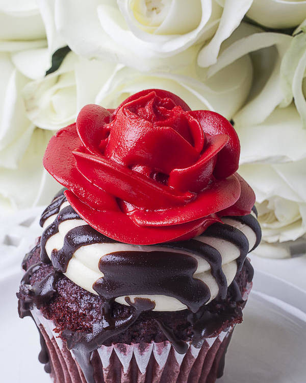 Red Rose Cupcake Poster featuring the photograph Red Rose Cupcake by Garry Gay