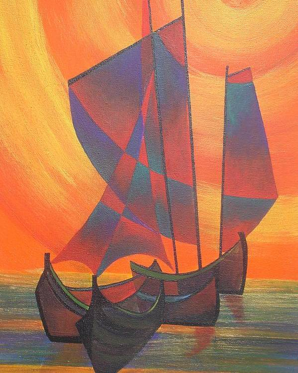 Sailboat Poster featuring the painting Red Sails In The Sunset by Tracey Harrington-Simpson