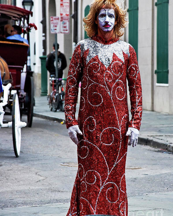 Photography Poster featuring the photograph Red Sequined Mime by Kathleen K Parker