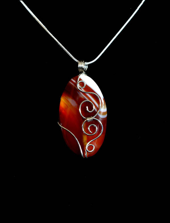 Necklace Poster featuring the jewelry Red Swirl Agate by Jan Brieger-Scranton