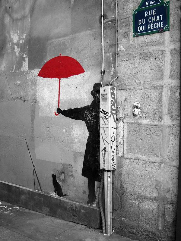 Red Umbrella In A Paris Alley Poster By Scott Carda