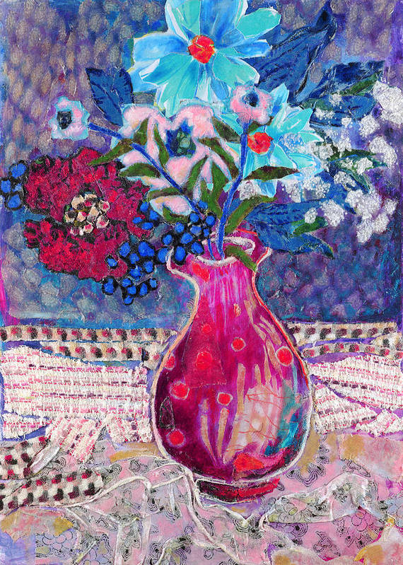 Flowers In A Vase Poster featuring the mixed media Red Vase IIi by Diane Fine