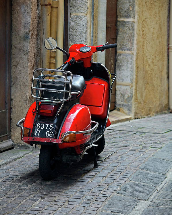 Red Scooter Vespa Style Canvas Wall Art Picture Print