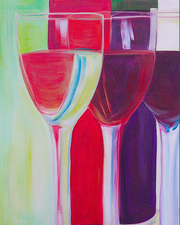 Wine Poster featuring the painting Red White And Blush by Debi Starr