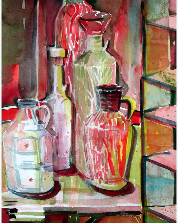Bottles Poster featuring the painting Red Wine Vinegar by Mindy Newman