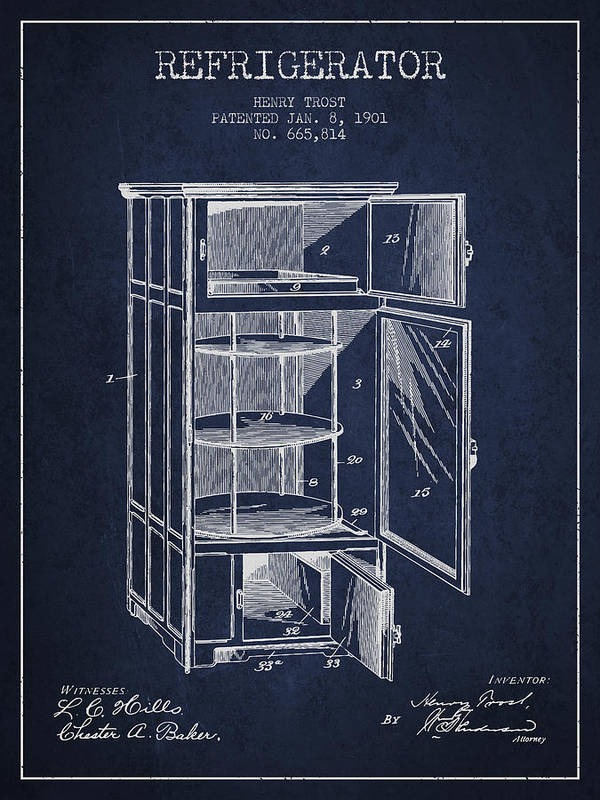 Refrigerator Poster featuring the digital art Refrigerator Patent From 1901 - Navy Blue by Aged Pixel