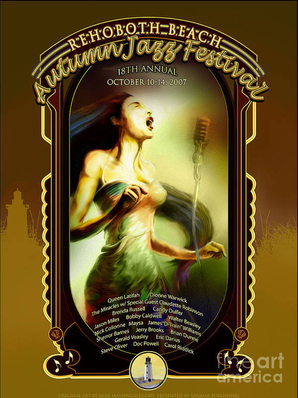 Rehoboth Beach Poster featuring the digital art Rehoboth Beach Jazz Fest 2007 by Mike Massengale