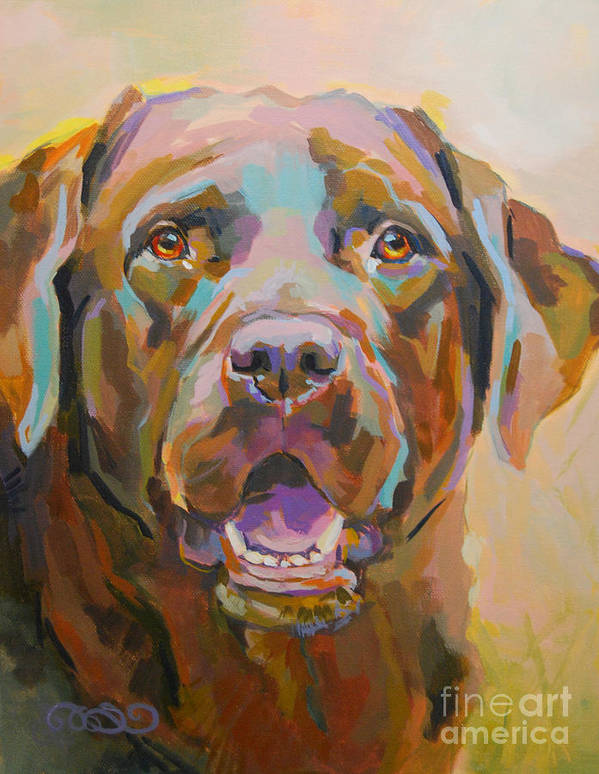 Chocolate Lab Poster featuring the painting Reilly by Kimberly Santini