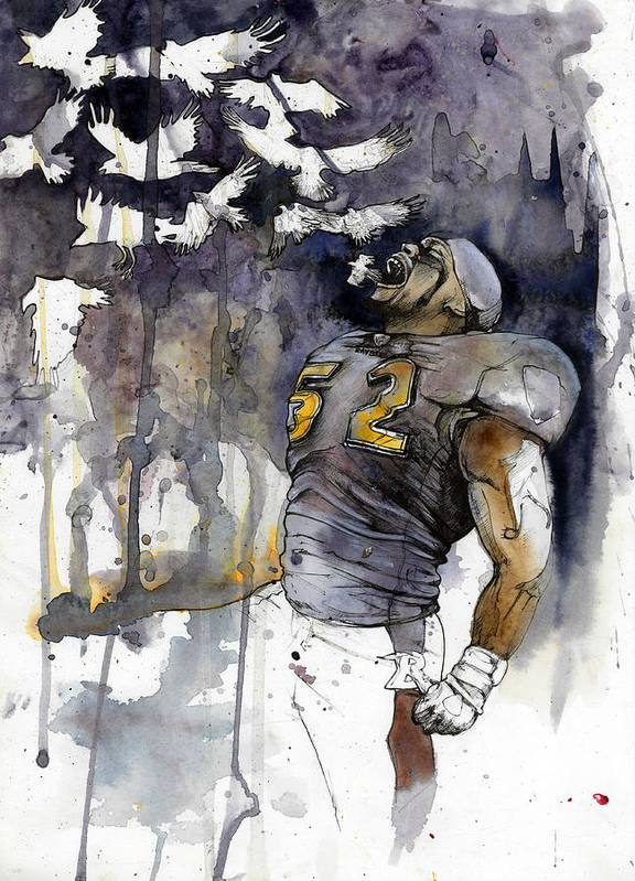Ray Lewis Poster featuring the painting Release The Ravens by Michael Pattison