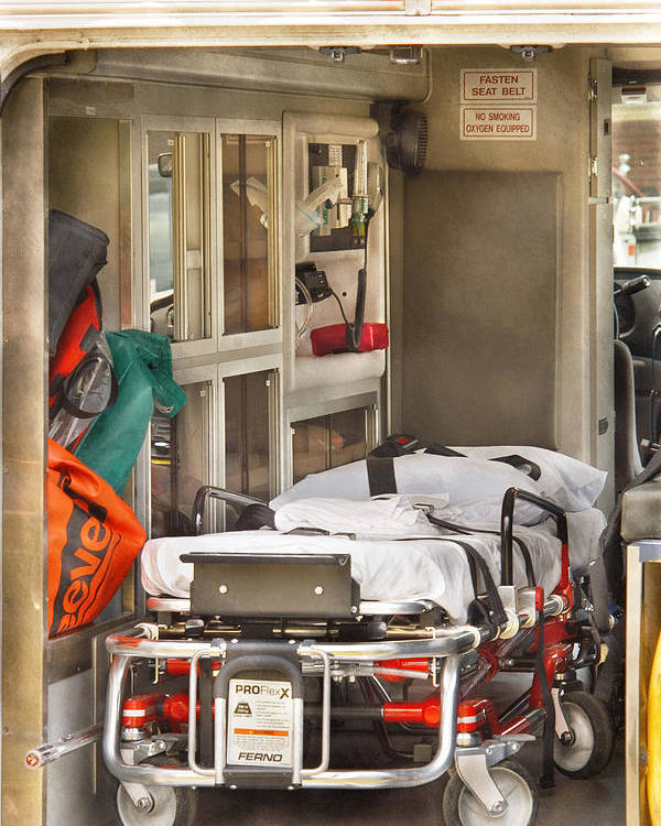 Savad Poster featuring the photograph Rescue - Inside The Ambulance by Mike Savad