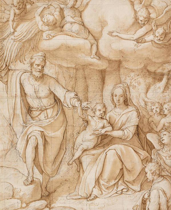 Zuccaro Poster featuring the drawing Rest On The Flight Into Egypt by Federico Zuccaro