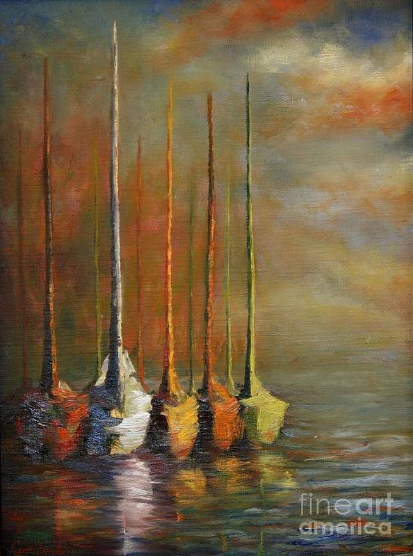 Sailboats Poster featuring the painting Resting At The Dock by Carol Jones