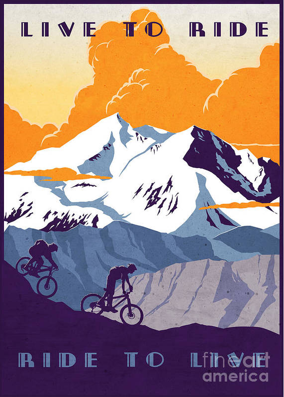 retro Cycling Poster Poster featuring the painting retro cycling poster Live to Ride Ride to Live by Sassan Filsoof