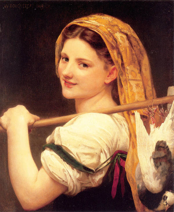Returned From The Market Poster featuring the painting Returned From The Market by William-Adolphe Bouguereau