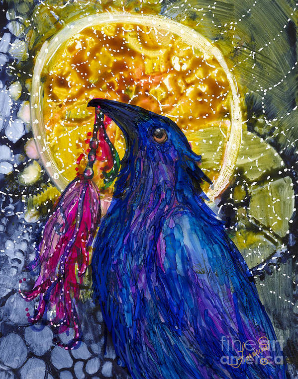 Raven Poster featuring the painting Reveling Raven by Francine Dufour Jones
