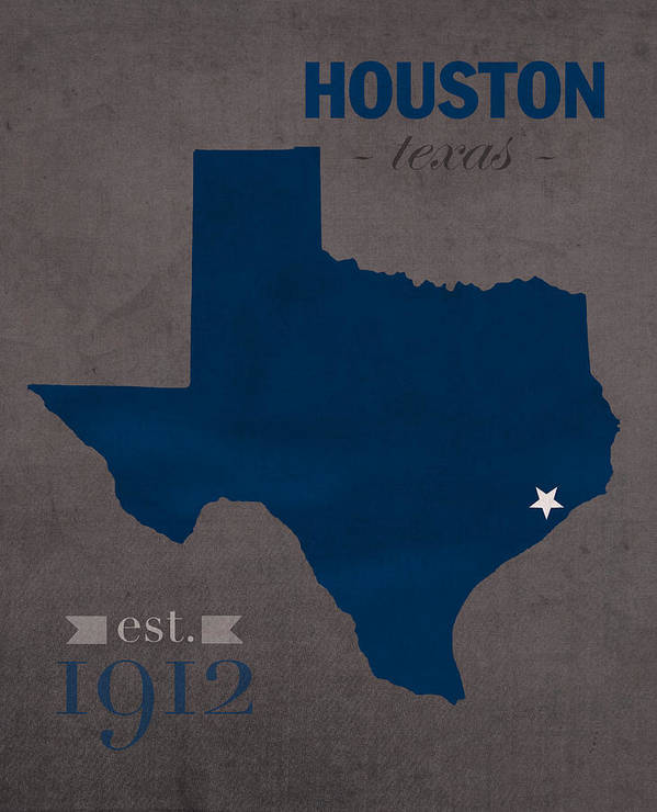 Rice University Owls Houston Texas College Town State Map Poster