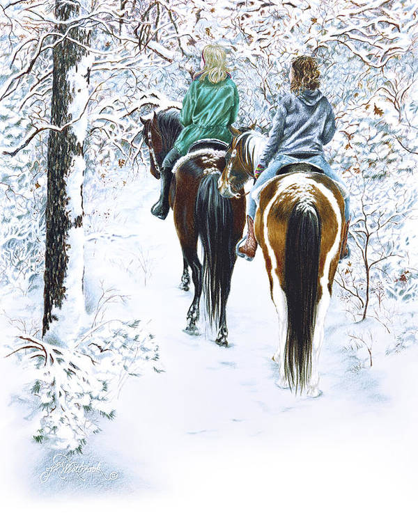Snow Poster featuring the drawing Ride Into Faerieland by Jill Westbrook