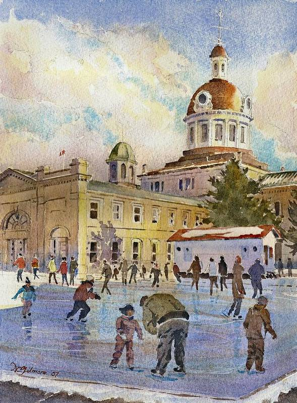 Kingston Poster featuring the painting Rink At Kingston Market Square by David Gilmore