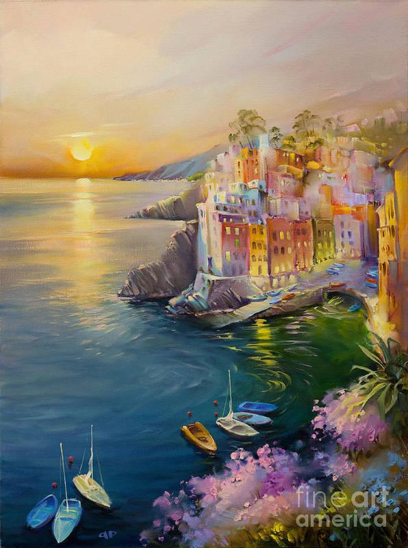 Riomaggiore Poster featuring the painting Riomaggiore by Roman Romanov