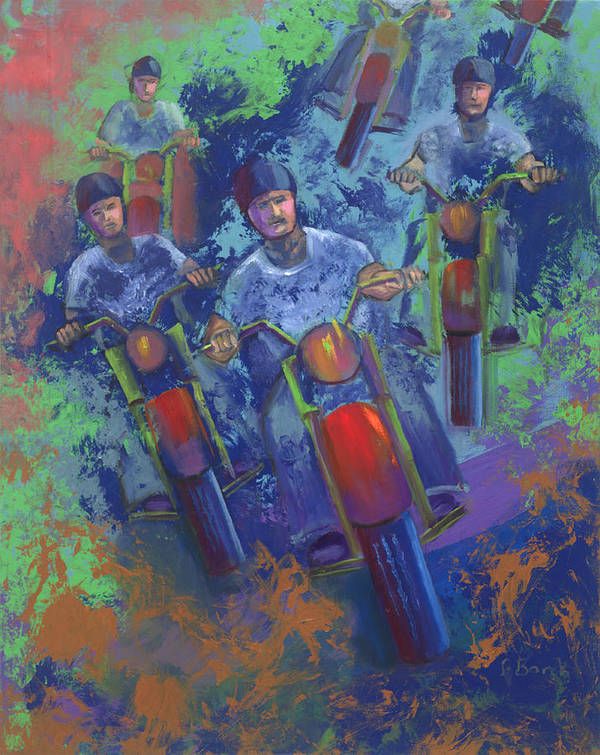 Motorcycle Poster featuring the painting Rippin It Up by Peter Bonk