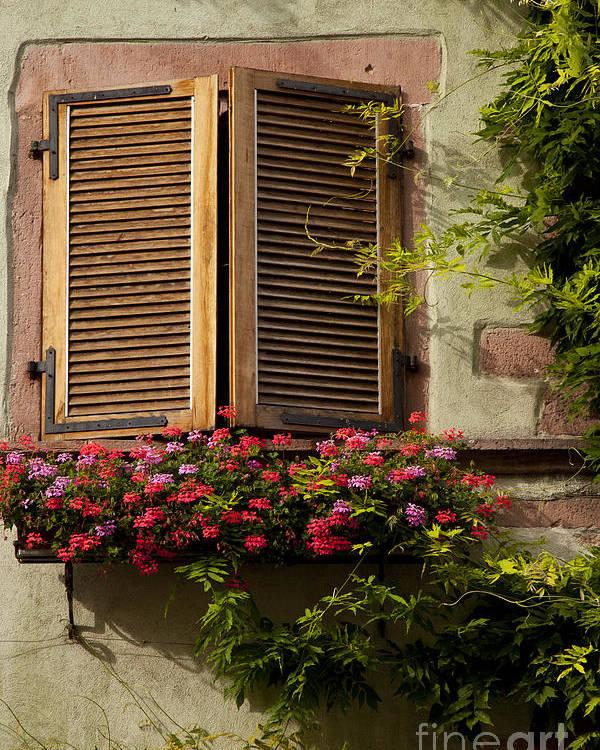 Riquewihr Poster featuring the photograph Riquewihr Window by Brian Jannsen