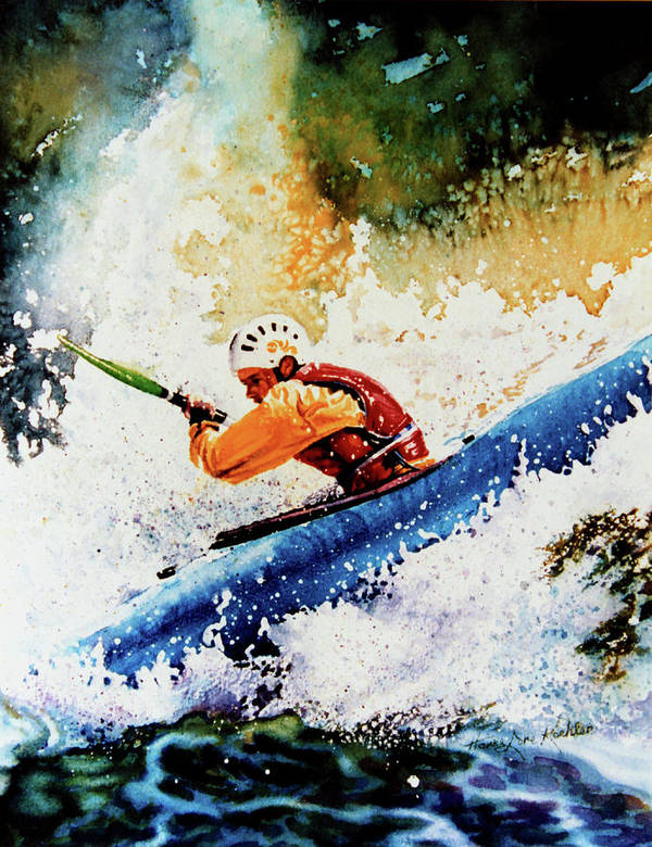 Sports Art Poster featuring the painting River Rush by Hanne Lore Koehler